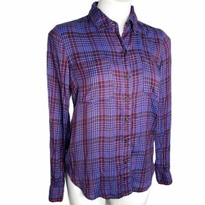 Lucky Brand Plaid Purple Button Down Shirt size S